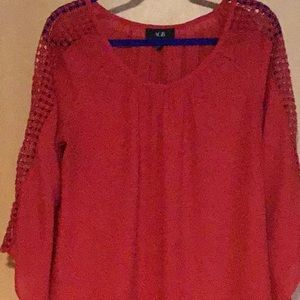 Gauze fabric crochet sleeve blouse
